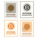 Bitcoin aceitou o ícone Fotografia de Stock