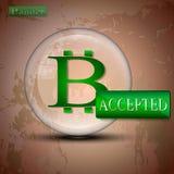 Bitcoin aceptó la bandera Foto de archivo libre de regalías