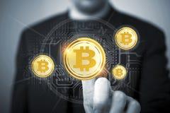 Bitcoin affärsman Concept Fotografering för Bildbyråer