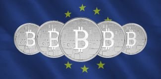 Composite image of bitcoin. Bitcoin against close-up of european flag Royalty Free Stock Images