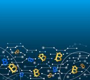 Bitcoin in the air. Technology background. Bitcoin in the air. Technology lines and dots background. Vector illustration, horizontal banner with place for text Royalty Free Stock Image
