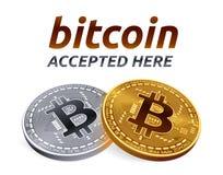 Bitcoin akceptował szyldowego emblemat 3D Złote i srebne isometric Fizyczne kawałek monety z tekstem Akceptującym Tutaj również z Zdjęcie Stock