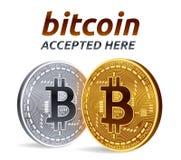 Bitcoin akceptował szyldowego emblemat 3D Złote i srebne isometric Fizyczne kawałek monety z tekstem Akceptującym Tutaj również z Fotografia Stock