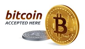 Bitcoin akceptował szyldowego emblemat 3D Złote i srebne isometric Fizyczne kawałek monety z tekstem Akceptującym Tutaj również z Obrazy Royalty Free