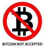 Bitcoin akceptujący znak Czarny bitcoin listu b podpisywać wewnątrz czerwonego cr royalty ilustracja