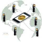 Bitcoin all over the world. Bitcoin in the phone and bitcoin ATMs. Physical coin. Digital currency. cryptocurrency. Bitcoin around the world in ATMs, bitcoin Royalty Free Stock Image