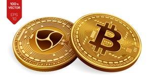 Bitcoin All'unanimità monete fisiche isometriche 3D Valuta di Digital Cryptocurrency Monete dorate con il simbolo di Bitcoin ed a illustrazione vettoriale