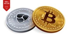 Bitcoin All'unanimità monete fisiche isometriche 3D Valuta di Digital Cryptocurrency Moneta d'argento con all'unanimità il simbol illustrazione di stock