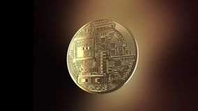 Bitcoin - animación de una moneda de torneado almacen de video