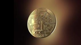 Bitcoin - animazione di una moneta di tornitura archivi video