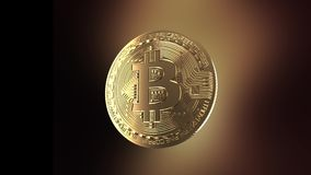 Bitcoin - animering av ett roterande mynt stock video