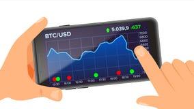 Bitcoin applikationvektor holdingen för bakgrundsgrupphanden bemärker smartphone Bitcoin App med grafen, trend, diagram isolerat  Royaltyfri Fotografi