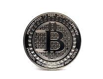 Bitcoin argent? BTC d'isolement sur un fond blanc photographie stock libre de droits