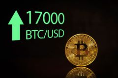 Bitcoin. arket bitcoin price record - seventeen thousand 17000 US dollars Royalty Free Stock Images