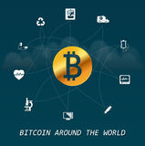 Bitcoin around the world - Virtual money transactions around the world infographic based on healthcare elements. And clouds Stock Photo