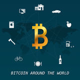 Bitcoin around the world - Virtual money transactions around the world infographic. Based on different things, car, house, fruits, bicycle etc Stock Image