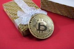 Bitcoin as a gift to the wedding in a beautiful box Stock Photos