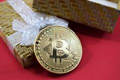 Bitcoin as a gift to the wedding in a beautiful box Stock Image
