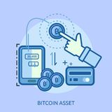 Bitcoin Asset Conceptual Design. Great flat design illustration concepts for currency, business, finance and much more Royalty Free Stock Images
