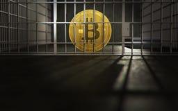 Bitcoin atrás das barras Problemas grandes de Bitcoin ou de outros cryptocurrencies Copyspace abaixo rendição 3d ilustração do vetor