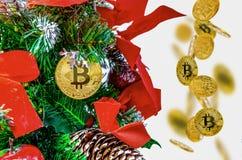 Bitcoin auf dem Weihnachtsbaum Stockbild