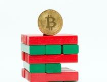 Bitcoin auf den Risiken Lizenzfreies Stockfoto