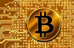 Bitcoin auf Leiterplatte Lizenzfreies Stockfoto