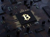 Bitcoin auf Motherboard stock abbildung