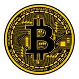 Bitcoin auf weißem Hintergrund Stockfoto
