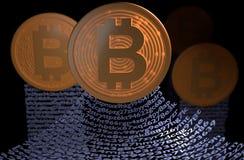 Bitcoin avec le concept de blockchain Chaîne des portefeuilles illustration 3D Photo stock