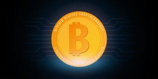 Bitcoin Azienda agricola di estrazione mineraria di Digital Cryptocurrency Bandiera di tecnologia Immagini Stock