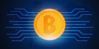 Bitcoin Azienda agricola di estrazione mineraria di Digital Cryptocurrency Bandiera di tecnologia Immagine Stock