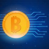 Bitcoin Azienda agricola di estrazione mineraria di Digital Cryptocurrency Bandiera di tecnologia Fotografia Stock