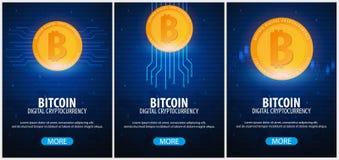 Bitcoin Azienda agricola di estrazione mineraria di Digital Cryptocurrency Bandiera di tecnologia Fotografia Stock Libera da Diritti