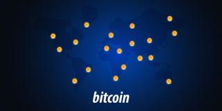 Bitcoin Azienda agricola di estrazione mineraria di Digital Cryptocurrency Bandiera di tecnologia Immagine Stock Libera da Diritti