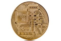 Bitcoin Backside. Golden Backside from Bitcoin on bright background Royalty Free Stock Photos