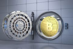 Bitcoin in bank vault Royalty Free Stock Photo