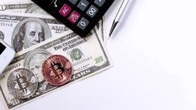 Bitcoin and banknote of America. Virtual money concept. stock video footage
