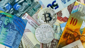 Bitcoin on banknote collage background. Electronic money exchange concept stock image