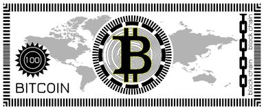 Bitcoin banknote concept. Block chain technology, virtual digital money. Template for game, joke, gift. Vector illustration. Black logotype. World map Royalty Free Stock Photo