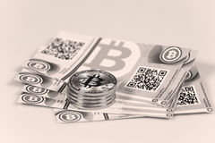 Bitcoin and banknotes Stock Image