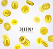 Bitcoin banner, frame with falling BTC coins. Bitcoin, cryptocurrency banner, flyer template with falling coins and place for text, vector illustration on white Royalty Free Stock Images