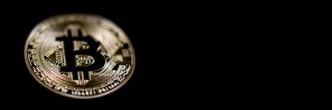 Bitcoin Banner Header. Gold Coin. Cryptocurrency with space for. Your own text. Bitcoin Cryptocurrency Royalty Free Stock Photo