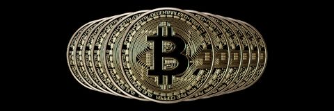 Bitcoin Banner Header. Gold Coin. Cryptocurrency with space for. Your own text. Bitcoin Cryptocurrency Stock Photos