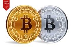 Bitcoin-Bargeld Schlüsselwährung isometrische körperliche Münzen 3D Digital-Währung Goldene und Silbermünzen mit Bitcoin-Bargeld Lizenzfreie Abbildung
