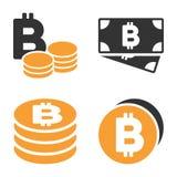 Bitcoin-Bargeld-Vektor-Ikonen-Satz Stockfotos