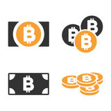 Bitcoin-Bargeld-Vektor-Ikonen-Satz Lizenzfreie Stockfotos