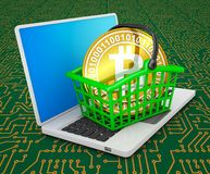 Bitcoin in basket on laptop Royalty Free Stock Images