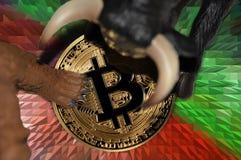 bitcoin beer en oplopende markten, vraag en aanbod conceptuele illustratie stock foto's