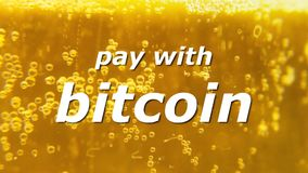 Bitcoin beer pay with 3. Beer texture close-up, bright yellow, many bubbles, with the tagline Pay with bitcoin stock video